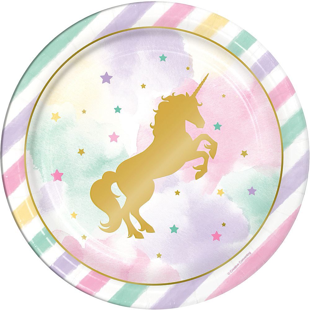 Sparkling Unicorn Lunch Plates 8ct Image #1