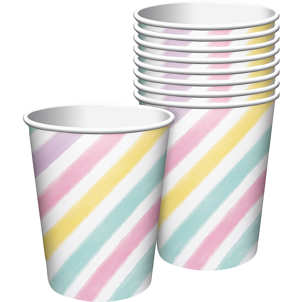 Pastel Striped Cups 8ct Image #1