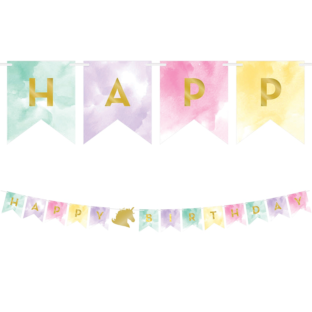 Sparkling Unicorn Happy Birthday Pennant Banner Image #1