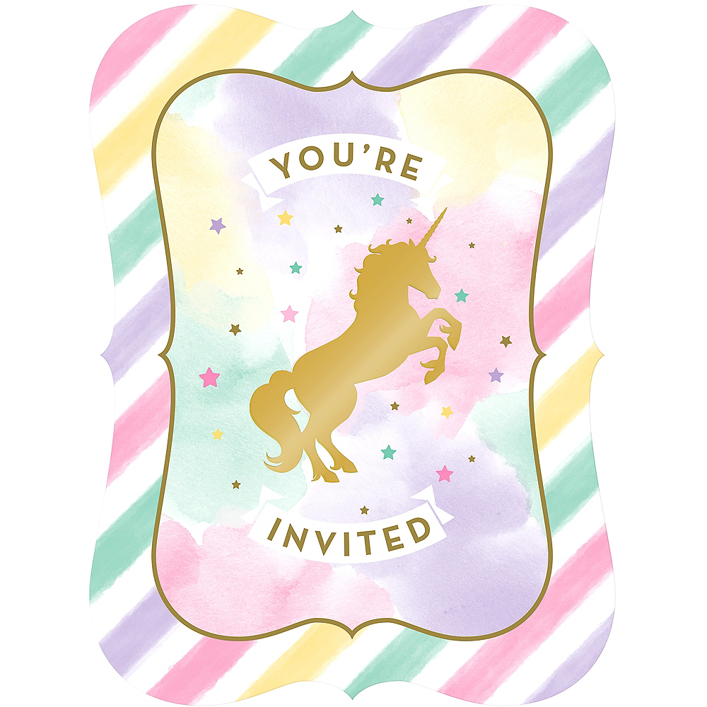 Sparkling Unicorn Invitations 8ct Party City
