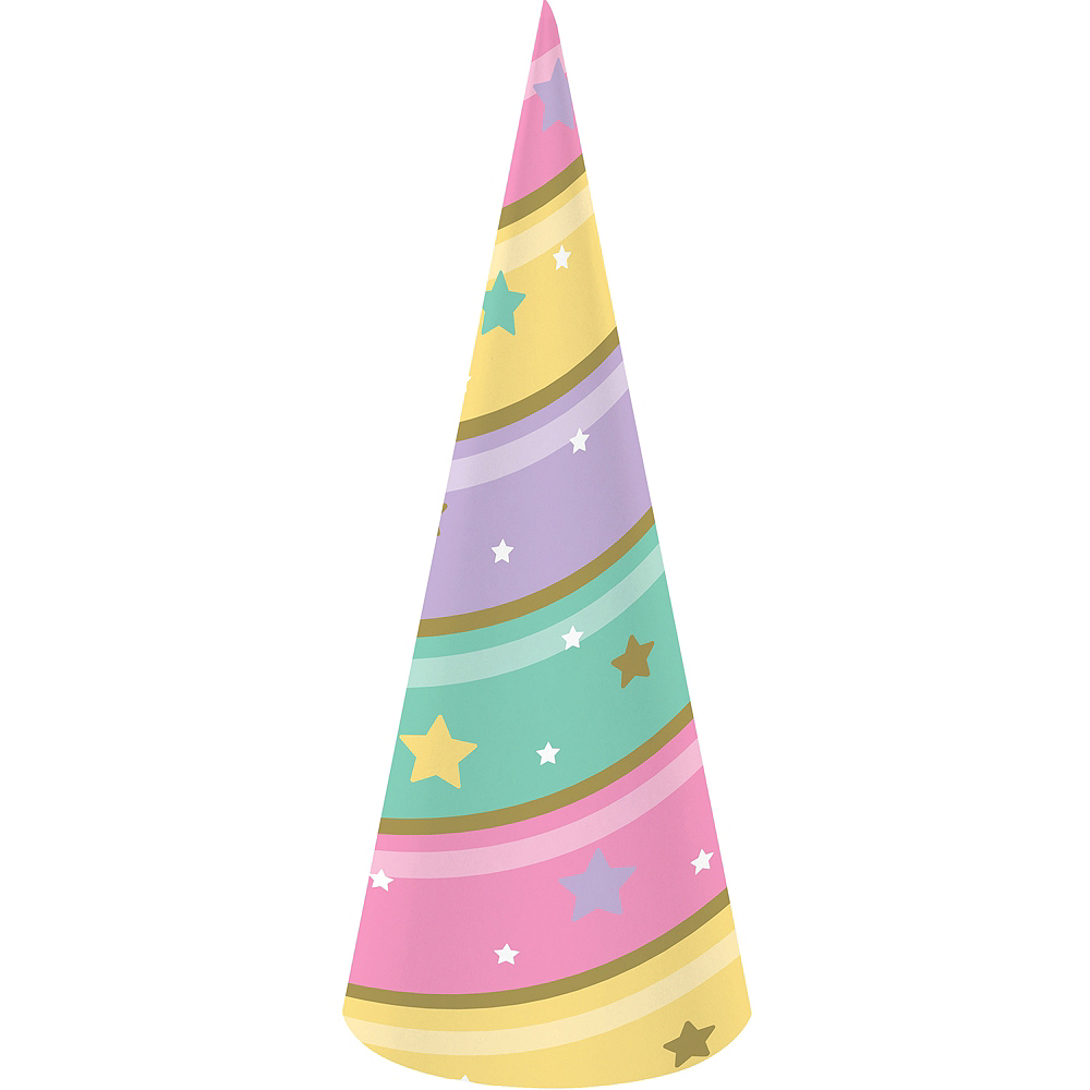 Pastel Striped Party Hats 8ct Image #1
