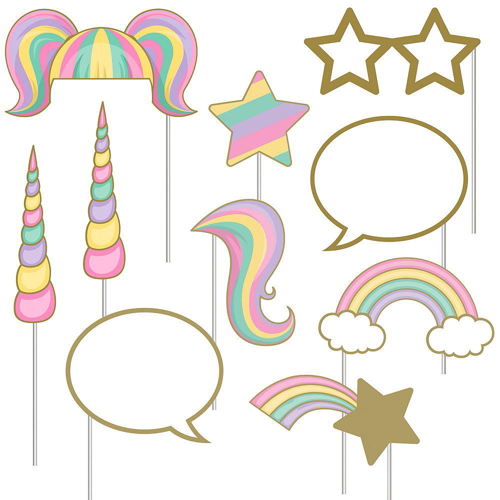 Sparkling Unicorn Photo Booth Props 10ct Image 1