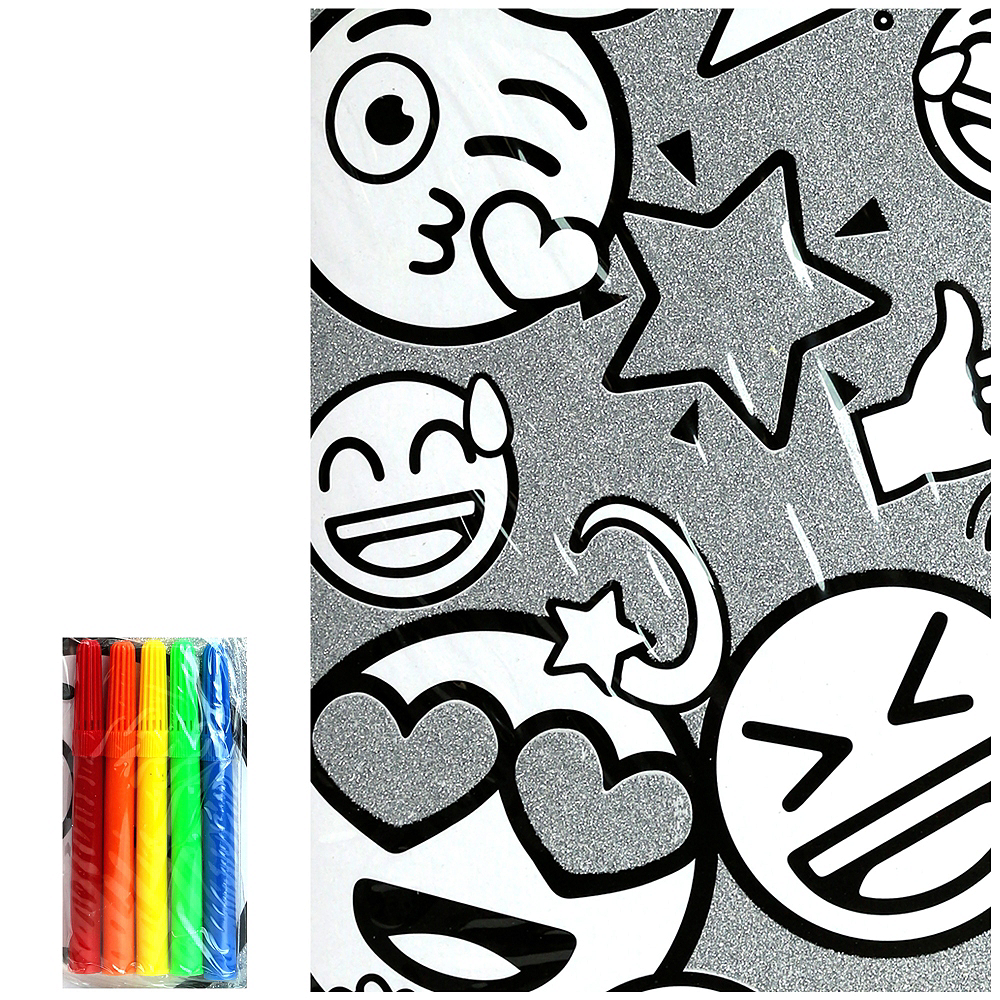 Glitter Smiley Coloring Poster with Markers Image #1