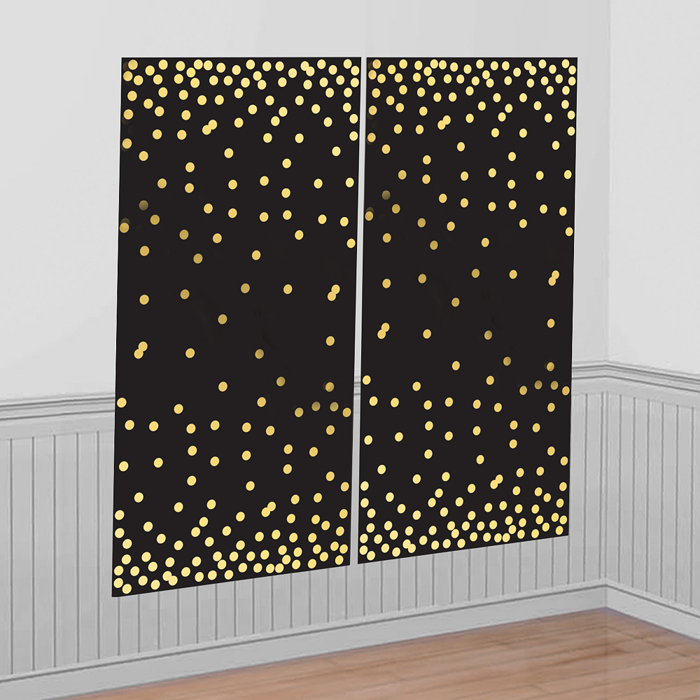 Black Gold Scene Setter Decoration Photo Prop Backdrop Hollywood Birthday Party