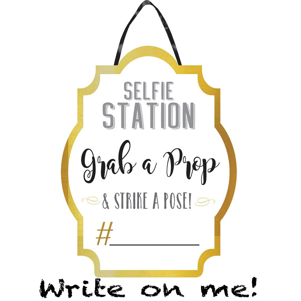 White & Gold Selfie Station Sign Image #1