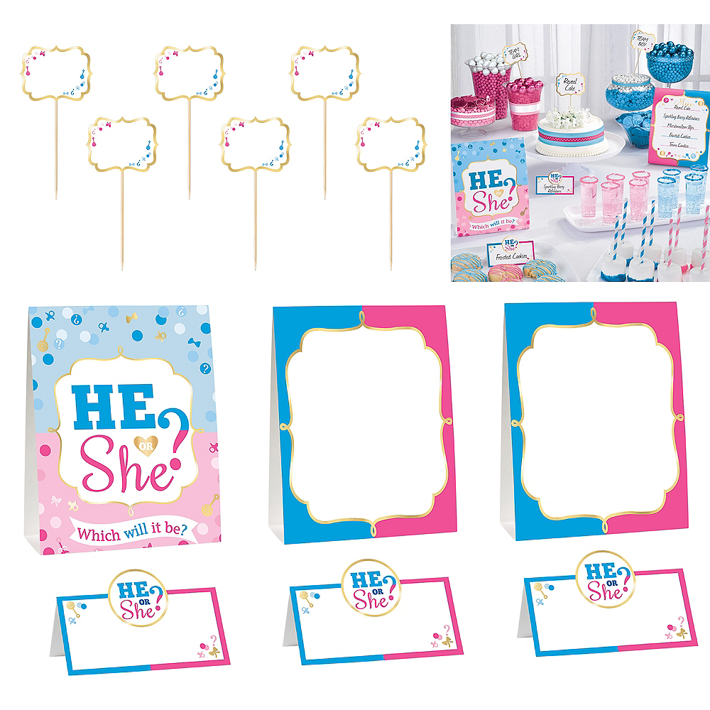 He or She Gender Reveal Buffet Decorating Kit 12pc Image #1