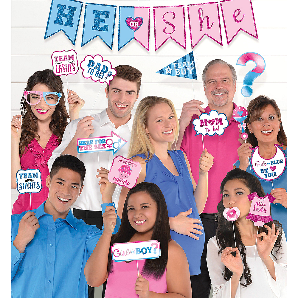 He or She Gender Reveal Photo Booth Kit 21pc Image #1
