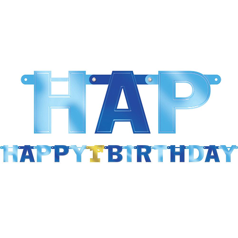 Metallic Blue 1st Birthday Banner Image #1