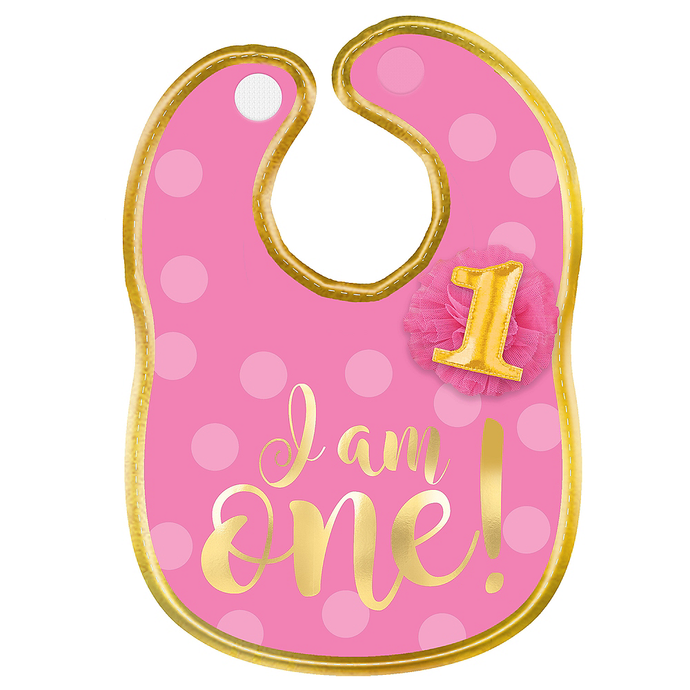 Pink & Gold 1st Birthday Bib Image #1