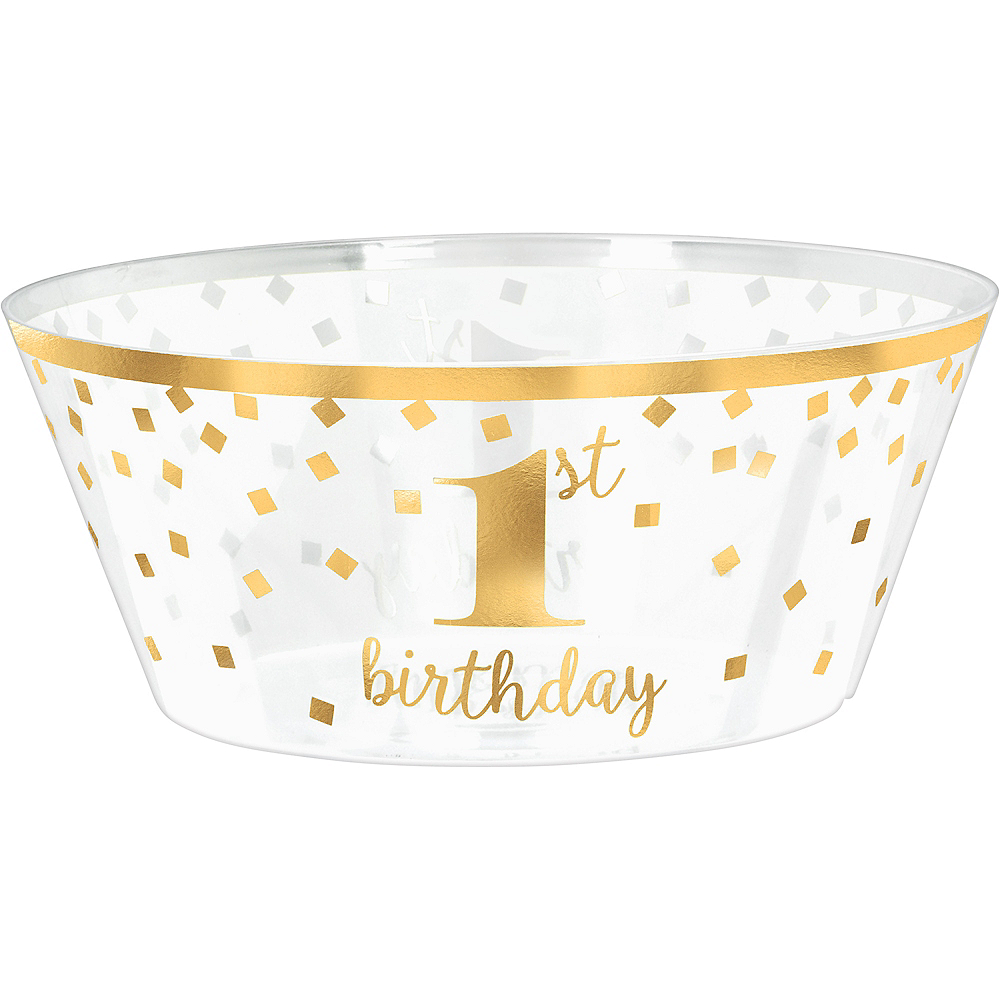 Metallic Gold Confetti 1st Birthday Plastic Serving Bowl Image #1