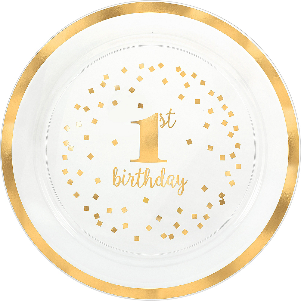 Metallic Gold Confetti 1st Birthday Serving Tray Image #1