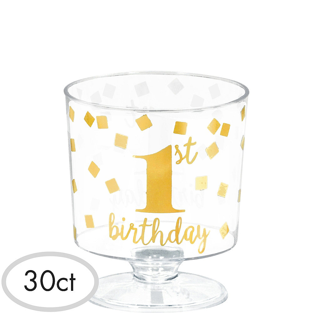 Nav Item for Mini Metallic Gold Confetti 1st Birthday Plastic Pedestal Cups 30ct Image #1
