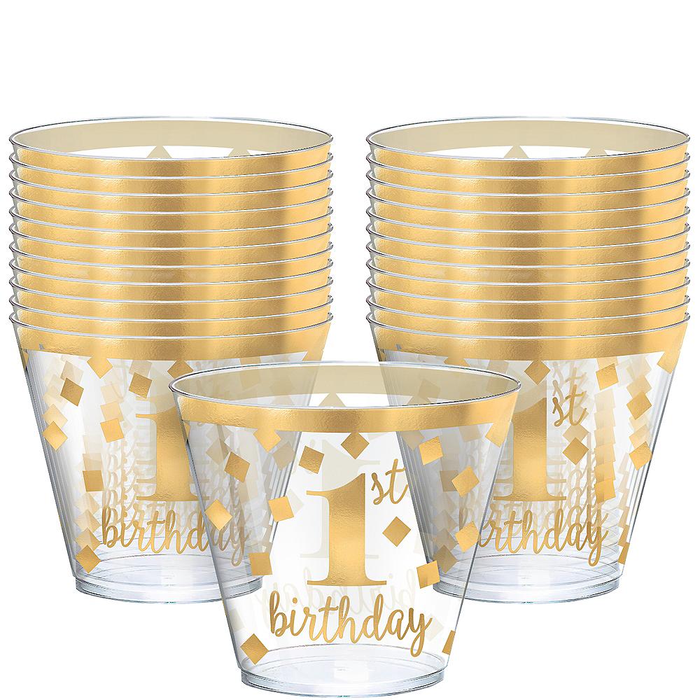Metallic Gold Confetti 1st Birthday Plastic Tumblers 30ct Image #1
