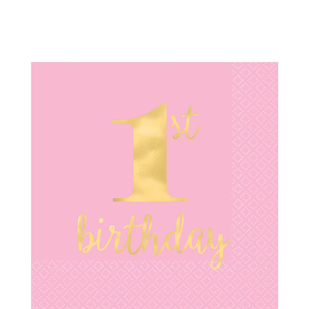 Metallic Pink & Gold 1st Birthday Premium Lunch Napkins 16ct Image #1