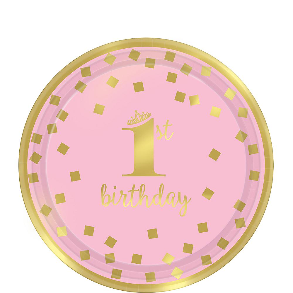 Metallic Pink & Gold Confetti 1st Birthday Dessert Plates 8ct Image #1