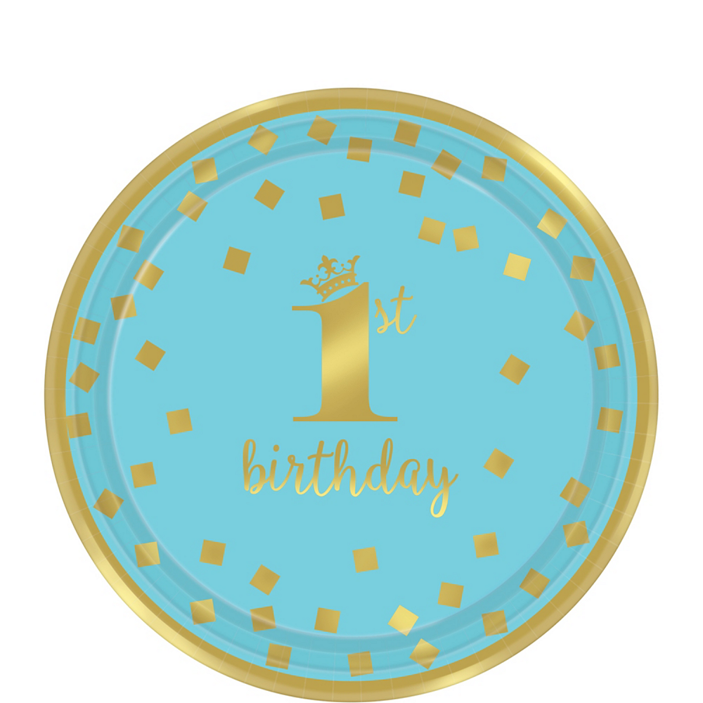 Metallic Blue & Gold Confetti 1st Birthday Dessert Plates 8ct Image #1