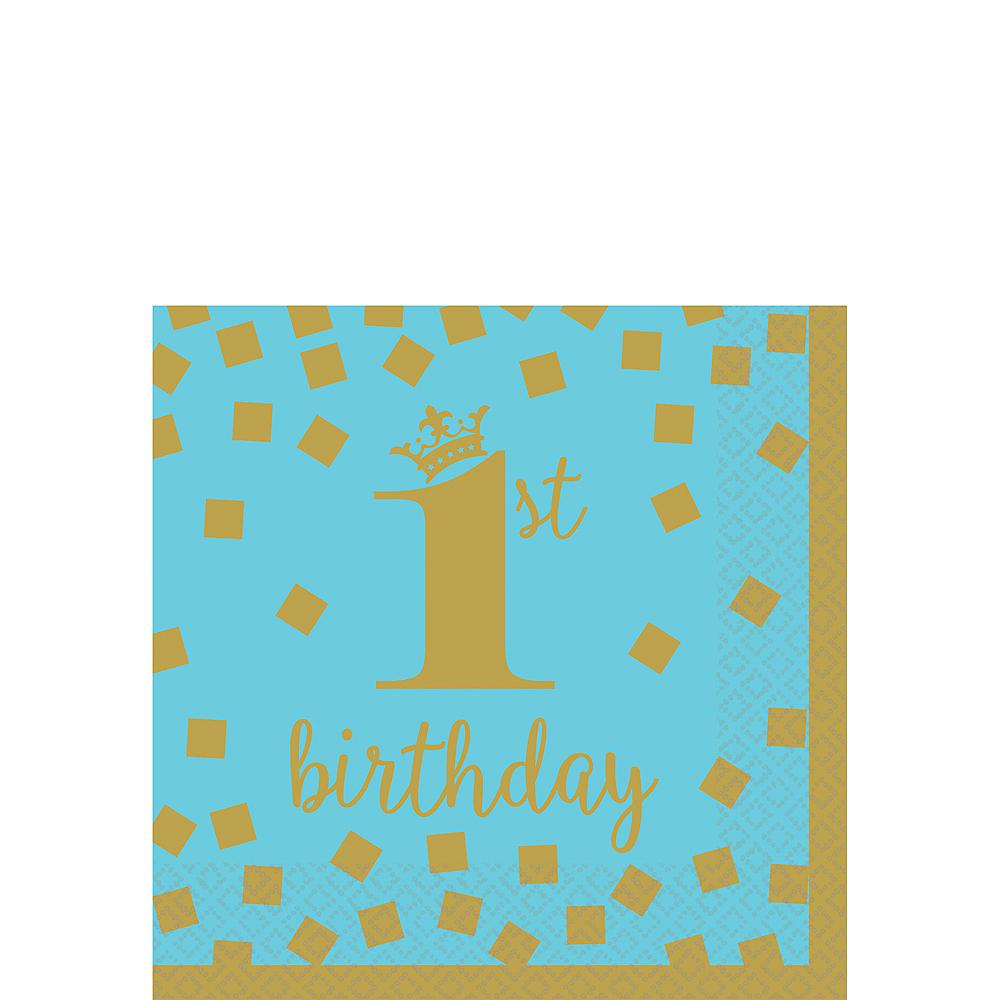 Blue & Gold 1st Birthday Beverage Napkins 16ct Image #1