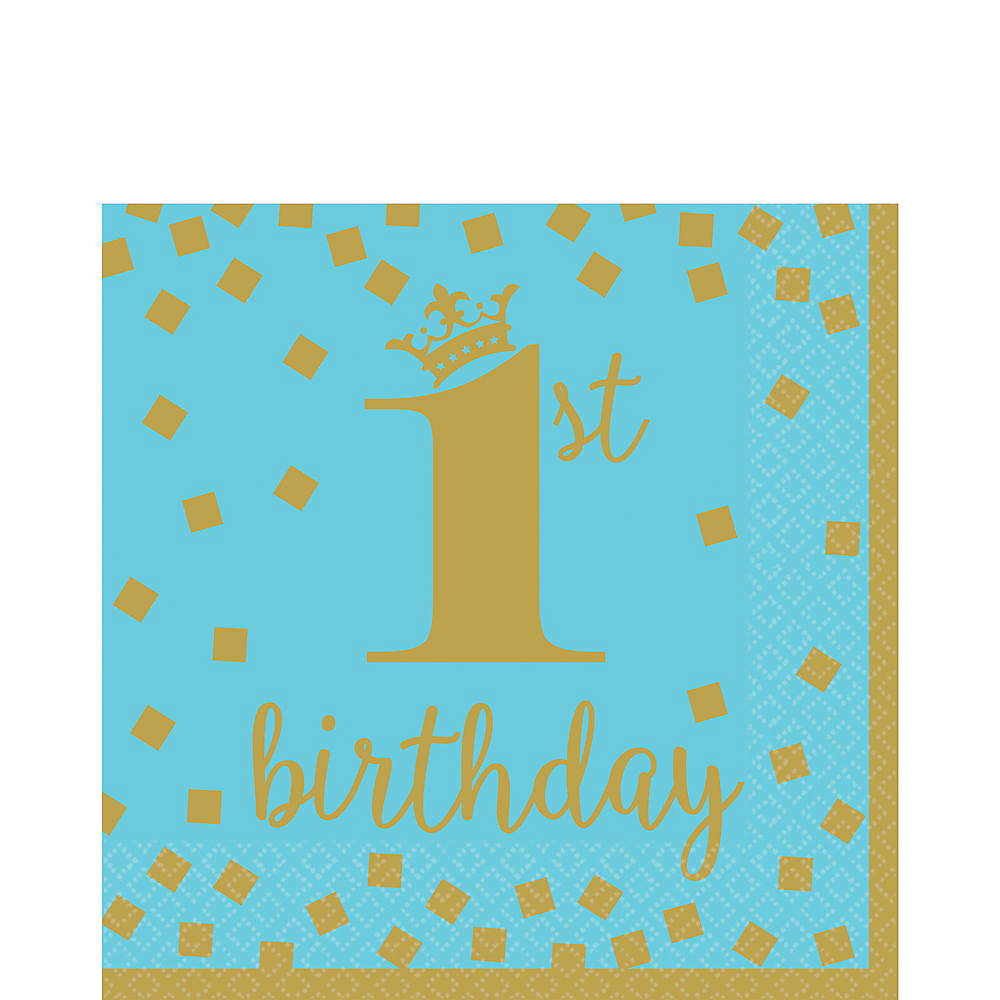 Blue & Gold 1st Birthday Lunch Napkins 16ct Image #1