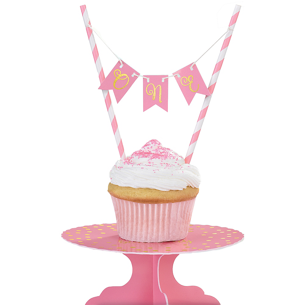 Astonishing Mini Pink 1St Birthday Cake Stand Kit 2Pc Party City Personalised Birthday Cards Arneslily Jamesorg
