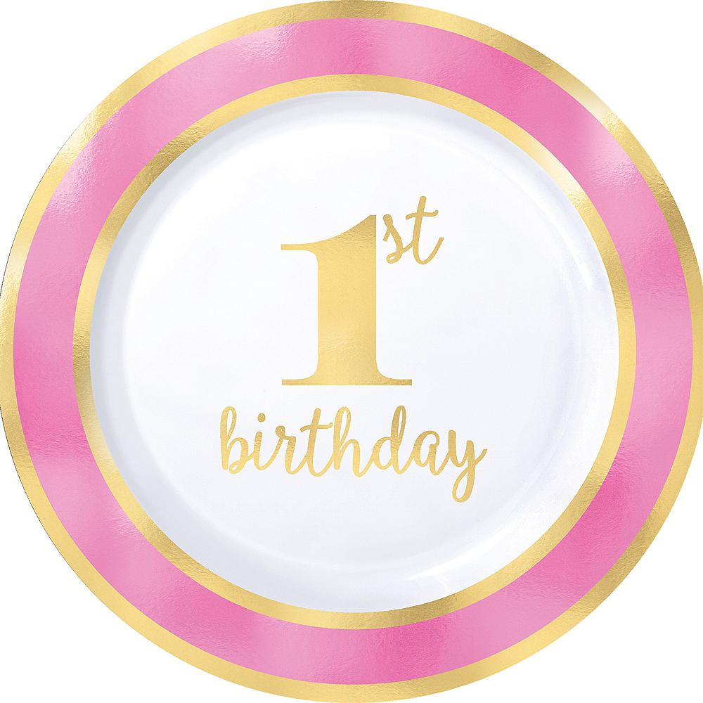 Metallic Pink & Gold 1st Birthday Premium Plastic Dinner Plates 10ct Image #1
