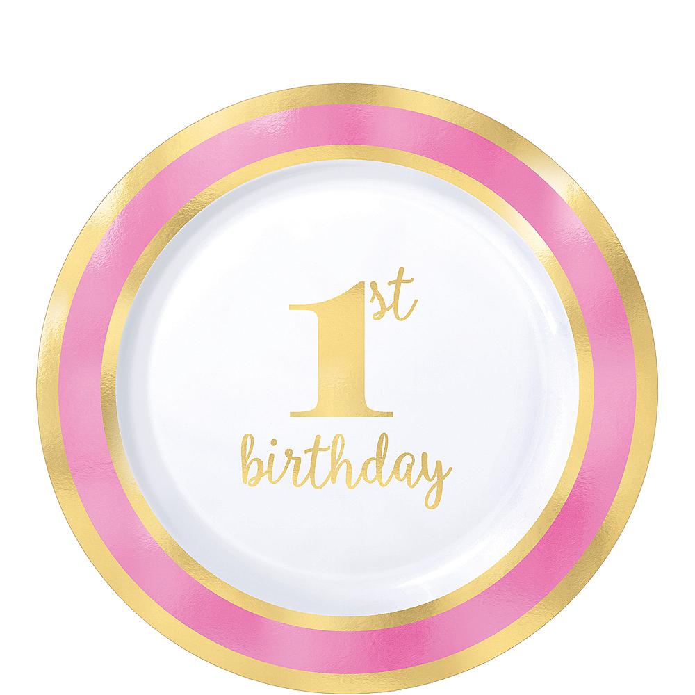 Metallic Pink & Gold 1st Birthday Premium Plastic Dessert Plates 10ct Image #1