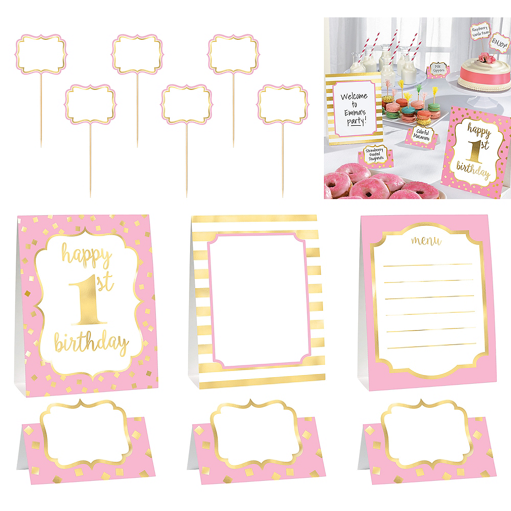 Nav Item for Metallic Pink & Gold 1st Birthday Buffet Decorating Kit 12pc Image #1
