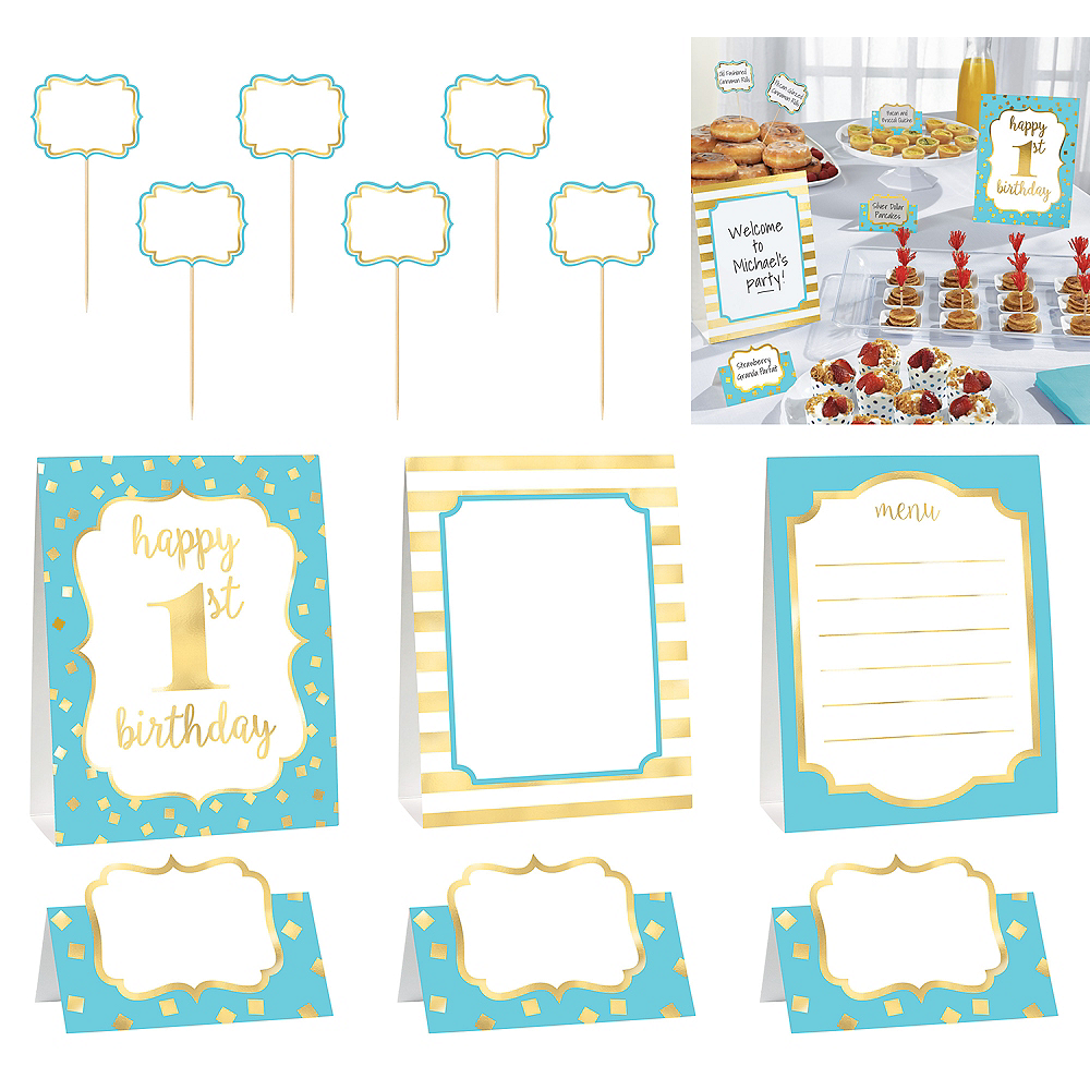 Metallic Blue & Gold 1st Birthday Buffet Decorating Kit 12pc Image #1