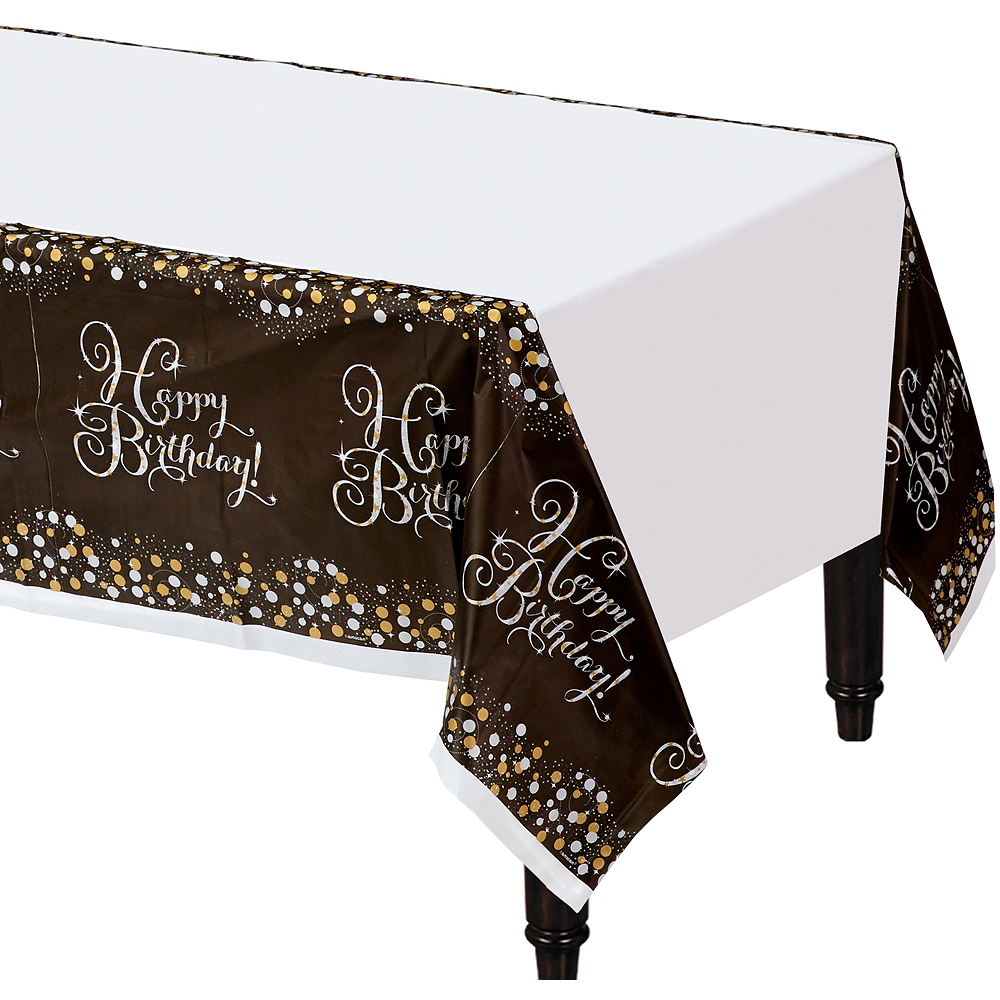 Happy Birthday Table Cover - Sparkling Celebration Image #1