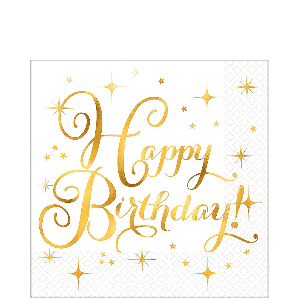 Nav Item for Metallic Gold Birthday Lunch Napkins 16ct Image #1