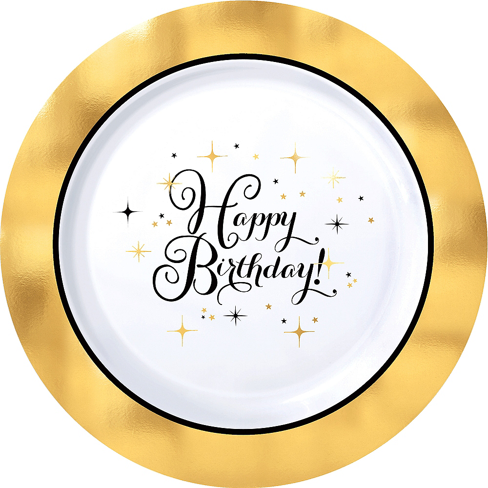Metallic Gold Birthday Premium Plastic Dinner Plates 10ct Image #1