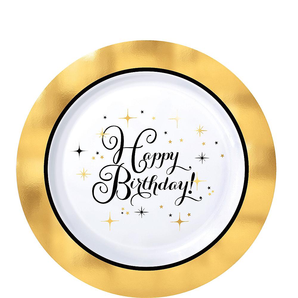Metallic Gold Birthday Premium Plastic Dessert Plates 10ct Image #1