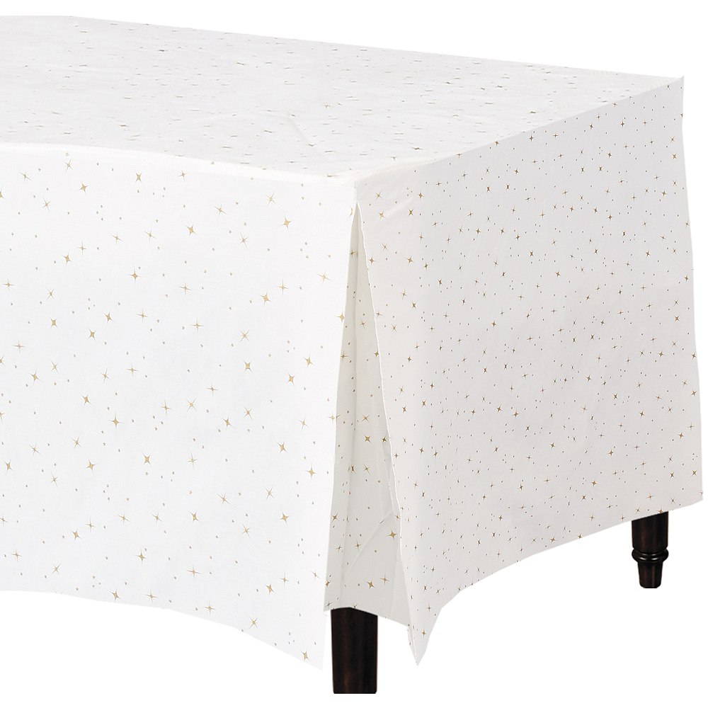 Gold Star Flannel Backed Vinyl Fitted Tablecloth 31in X 72in Party City