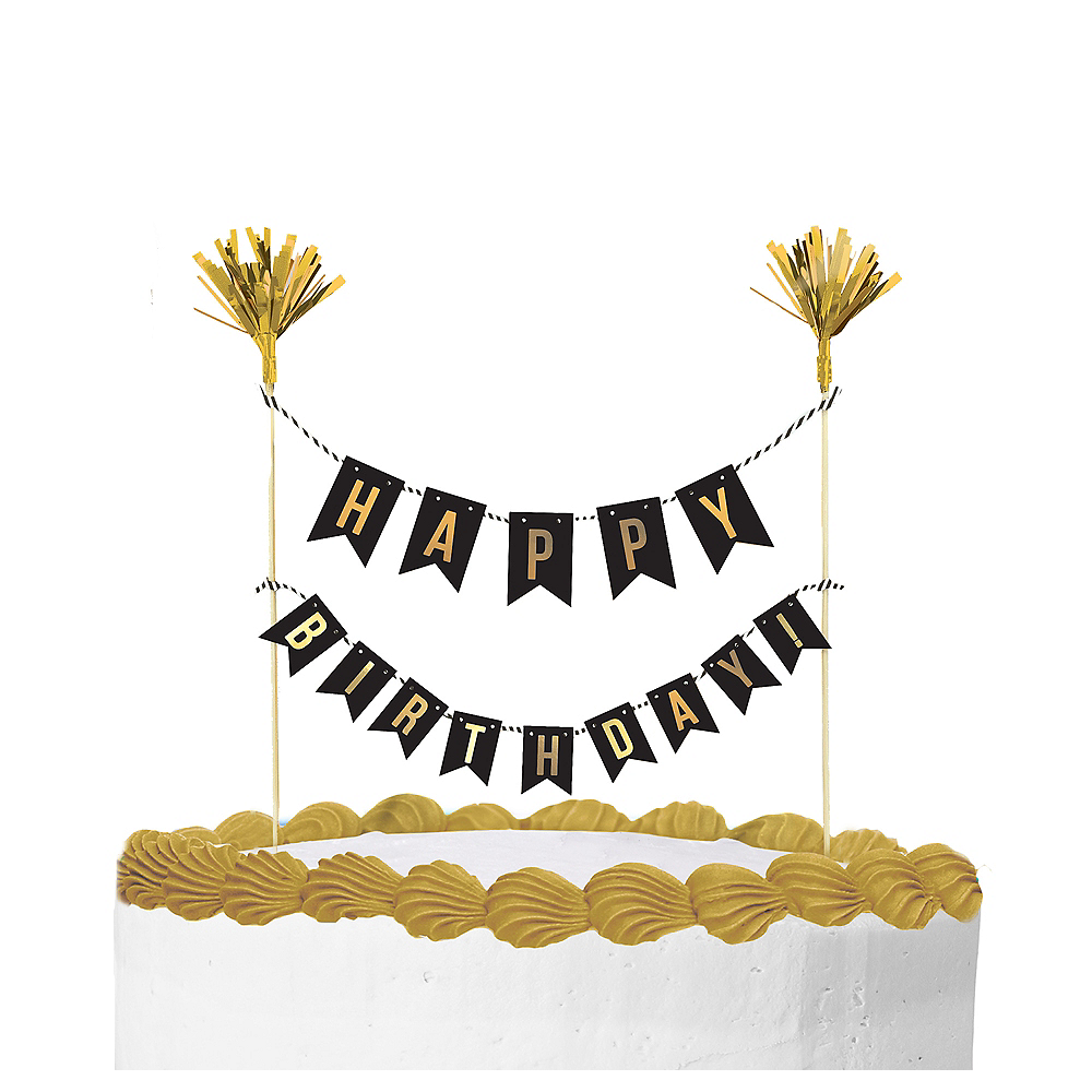 e7cb68a3473b 10in x 8 1 2in Paper   Wood Picks. Gold Happy Birthday Banner Cake Topper  Image  1