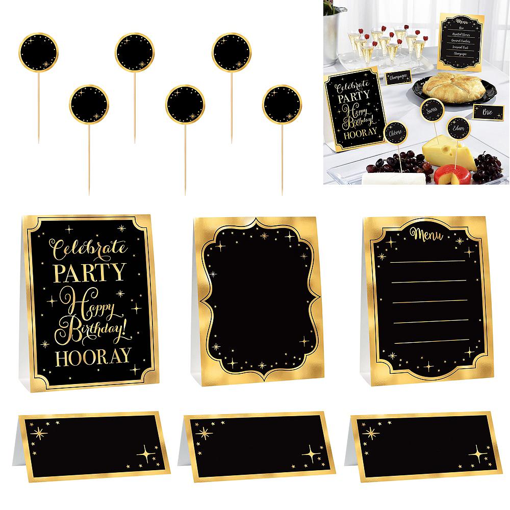 Metallic Gold Birthday Buffet Decorating Kit 12pc Image #1