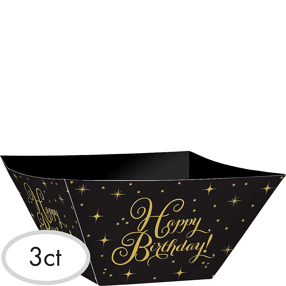 Gold Birthday Paper Serving Bowls 3ct Image #1