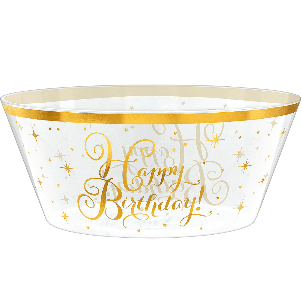 Metallic Gold Birthday Plastic Bowl Image #1
