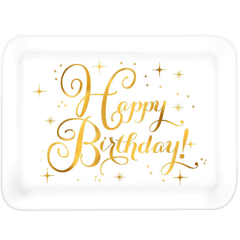Metallic Gold Birthday Plastic Rectangular Platter Image #1