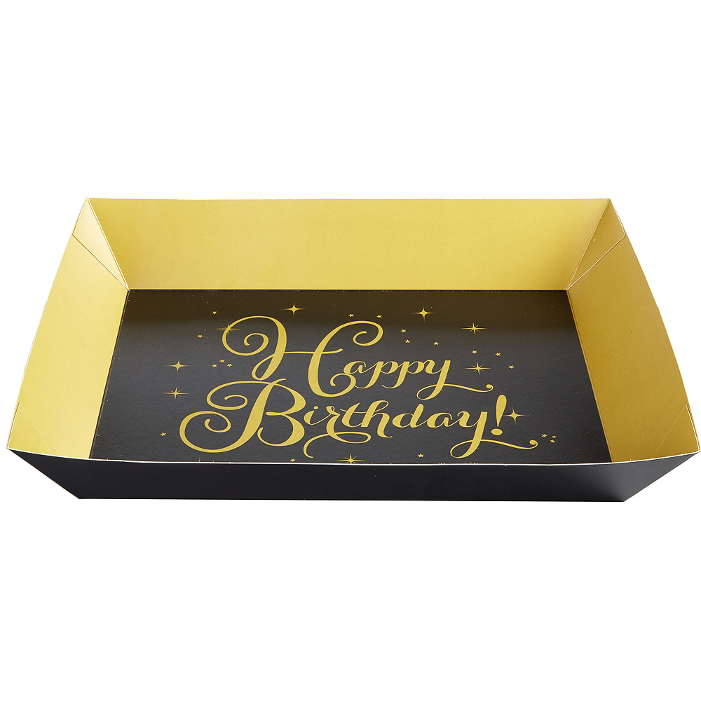 Gold Birthday Serving Trays 2ct Image #1