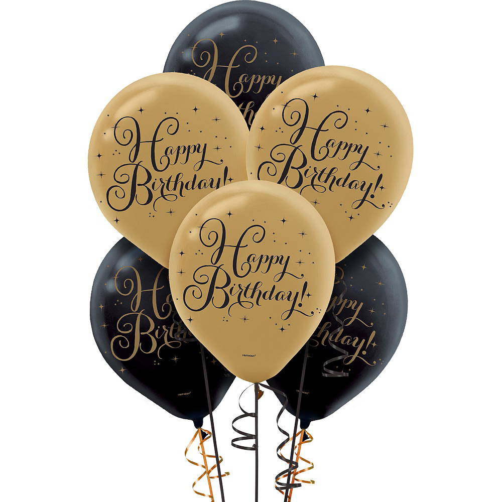 Black Gold Birthday Balloons 15ct Image 1