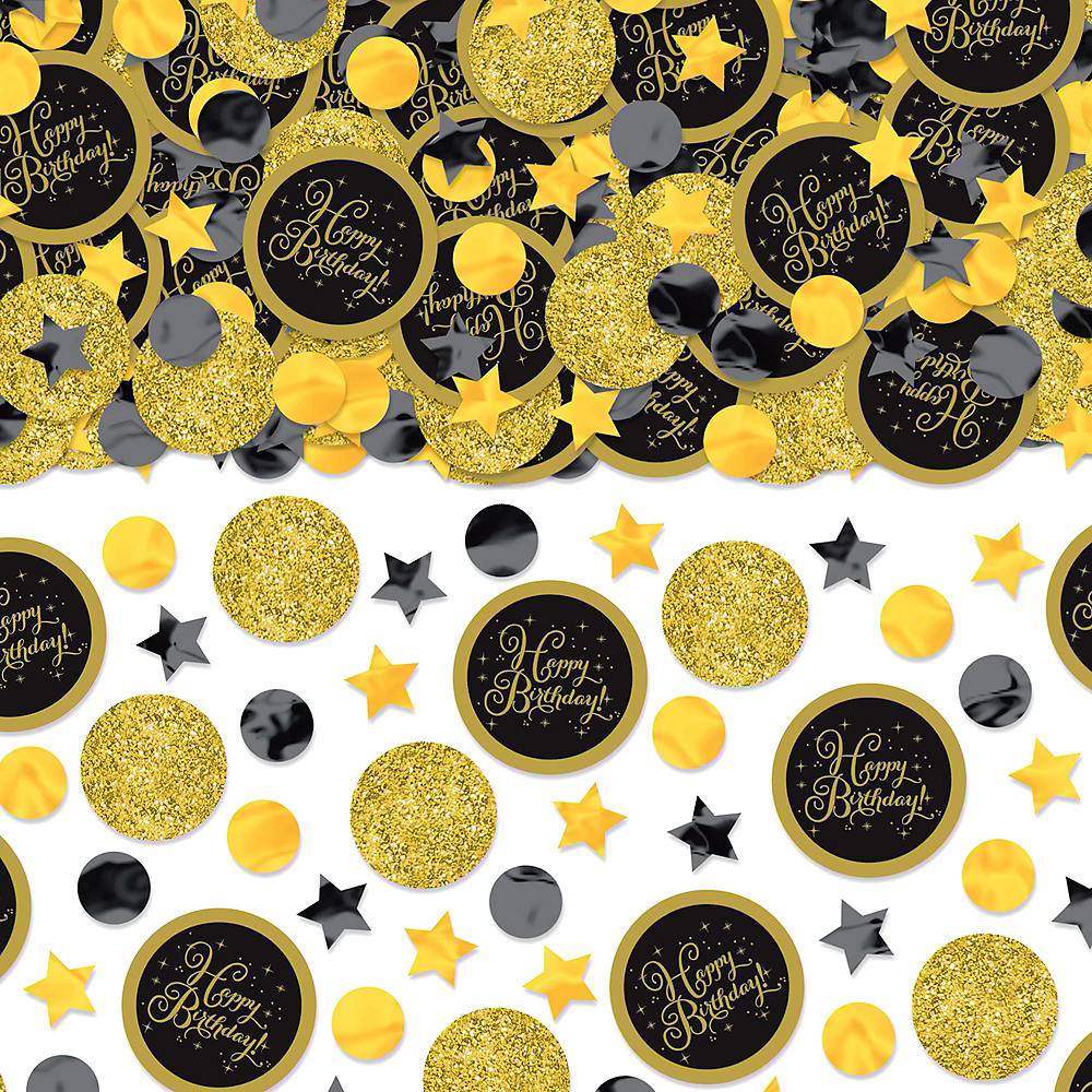 Black & Gold Birthday Confetti Image #1