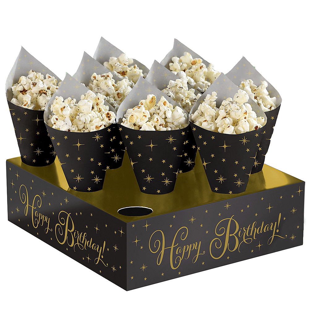 Black & Gold Birthday Snack Cone Kit 40ct Image #1