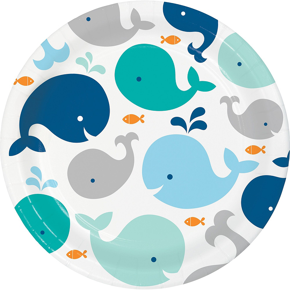 Blue Baby Whale Premium Baby Shower Tableware Kit for 16 Guests Image #3