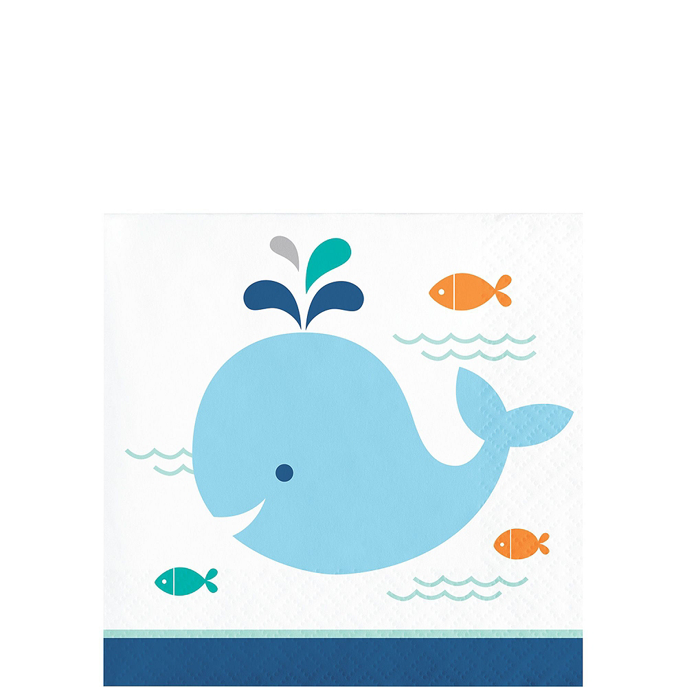 Blue Baby Whale Premium Baby Shower Tableware Kit for 16 Guests Image #4