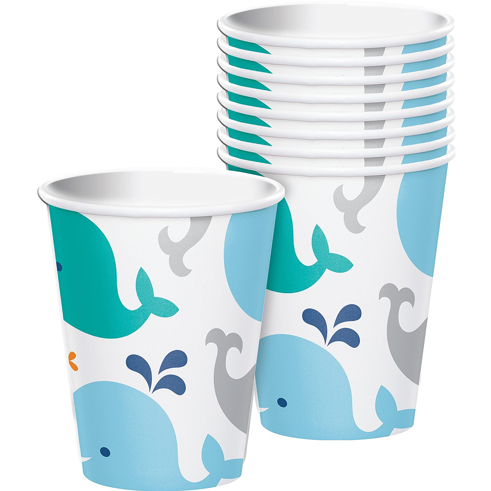 Blue Baby Whale Premium Baby Shower Tableware Kit for 16 Guests Image #6