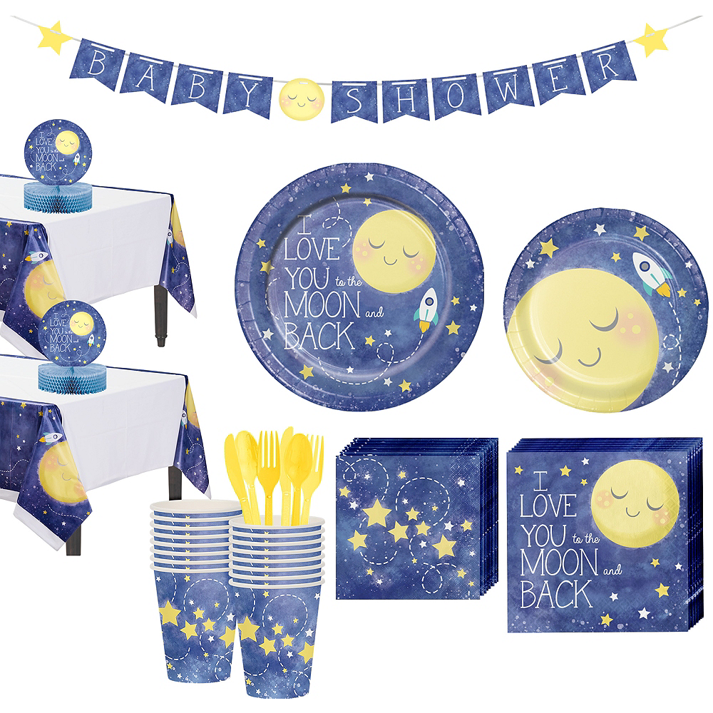 Moon & Stars Premium Baby Shower Tableware Kit for 16 Guests Image #1