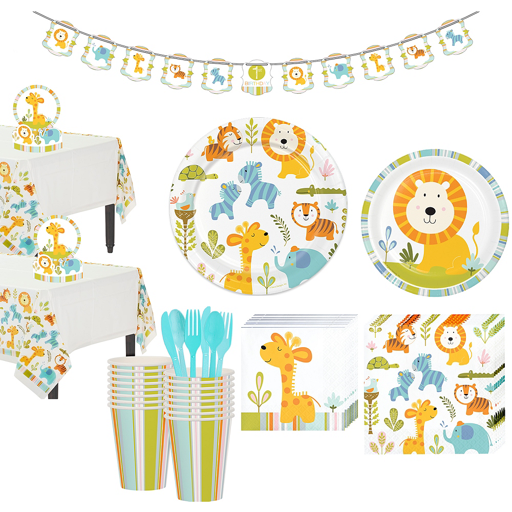 Happy Jungle Lion Premium Baby Shower Tableware Kit for 16 Guests Image #1