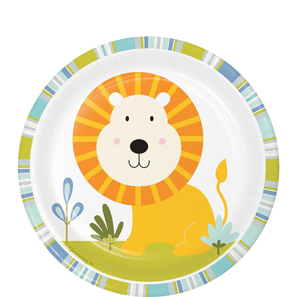 Happy Jungle Lion Premium Baby Shower Tableware Kit for 16 Guests Image #2
