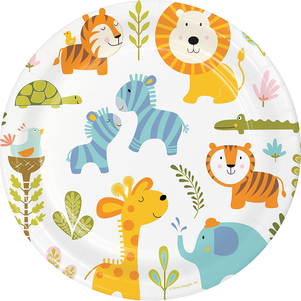 Happy Jungle Lion Premium Baby Shower Tableware Kit for 16 Guests Image #3