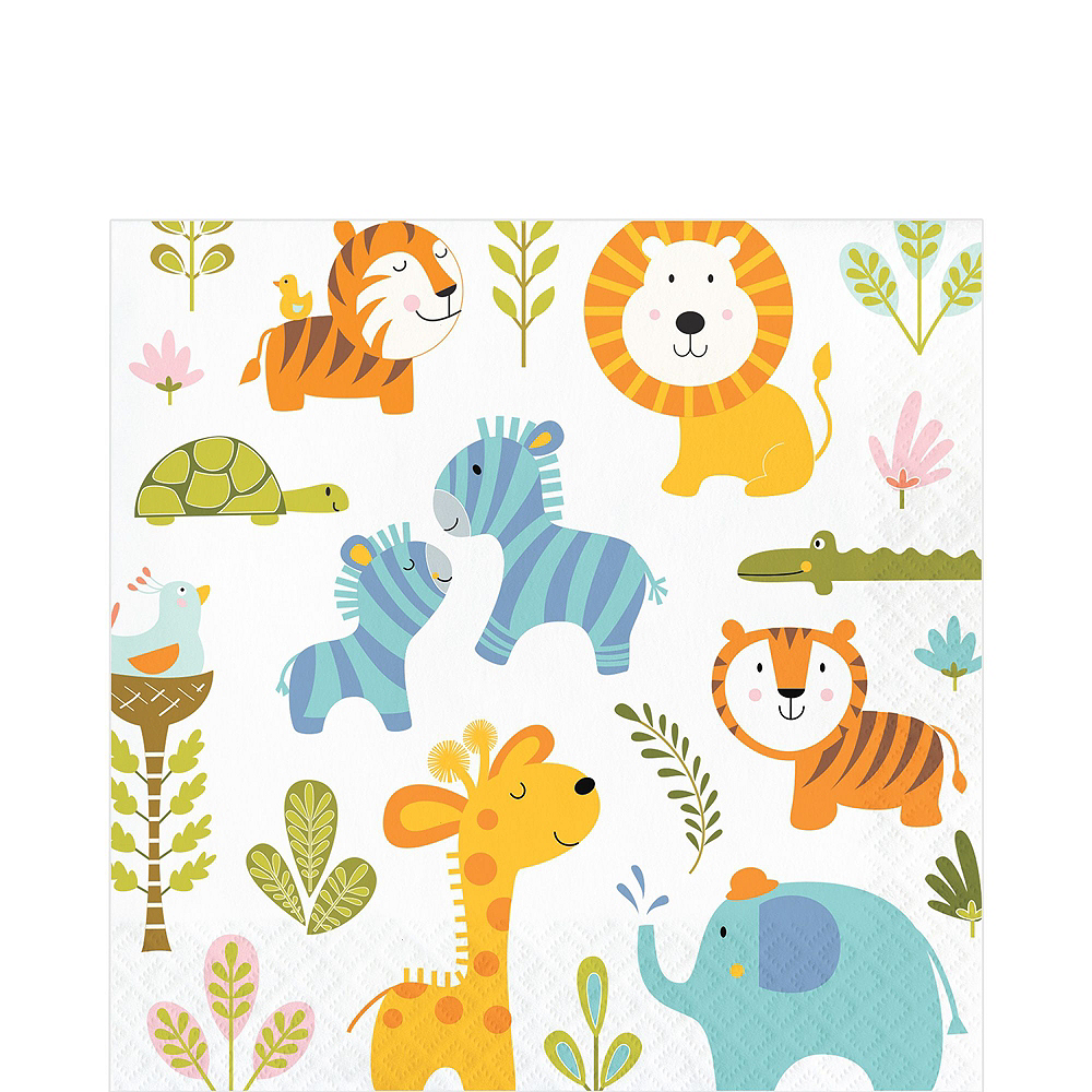 Happy Jungle Lion Premium Baby Shower Tableware Kit for 16 Guests Image #5