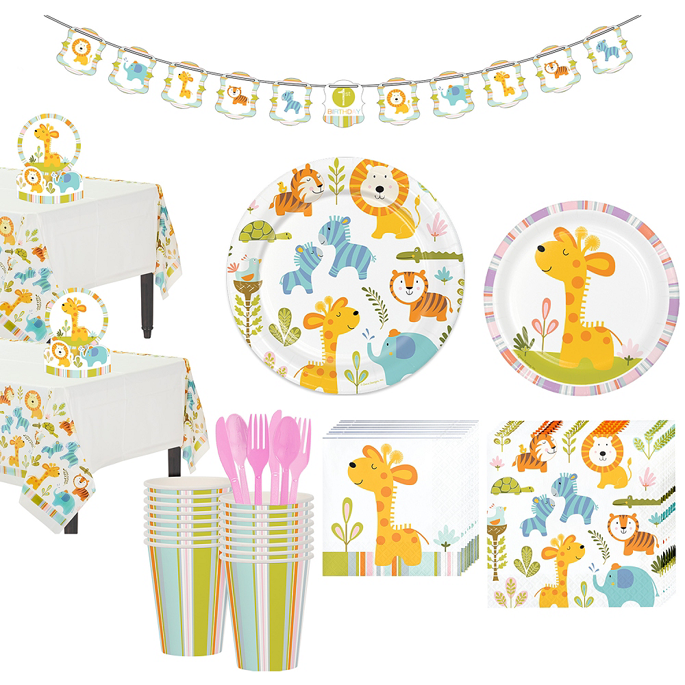 Happy Jungle Giraffe Premium Baby Shower Tableware Kit for 16 Guests Image #1